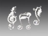 """Украшение """"Мелодия"""" прозрачно-матовое с лиственным серебристым декором, асс. из 3-х, 5х13 см"""