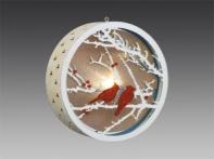 """Украшение новогоднее с подсветкой """"Зимний пейзаж в окне"""" серебряное с красными птицами, d 10 см"""