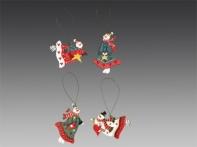 """Украшение рождественское """"Разноцветные снеговички"""" в дисплее (дерево), асс. из 4-х, 7,5х5 см"""