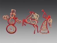Украшение рождественское красно-золотое блестящее, асс. из 3-х: ангел, снеговик, олень, 5 х11 см