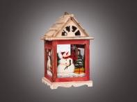 """Фонарь рождественский """"Снеговик в окне"""" красно-белый (дерево/стекло), 15,5х15,5х27 см"""