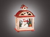 """Фонарь рождественский """"Снеговик в окне"""" красно-белый (дерево/стекло), 18,5х14х28 см"""