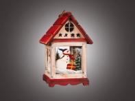"""Фонарь рождественский """"Снеговик в окне"""" красно-белый средний (дерево/стекло), 17х15х25,5 см"""