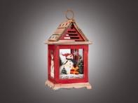 """Фонарь рождественский """"Снеговичок в окне"""" красно-белый (дерево/стекло), 13,5х13,5х24,5 см"""