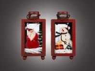 Фонарь-лампа рождественский красный (металл/стекло), асс. из 2-х: с Сантой/Снеговичком, 7х6х12 см