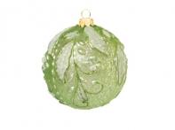 Шар винтажный зеленый с заснеженным лиственным орнаментом (стекло), 10 см