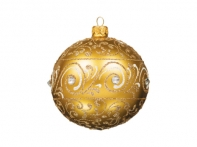 Шар золотой узорный со стразами (стекло, ручная работа) П/У, 10 см