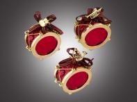 Барабан зеркальный красно-золотой, асс. из 3-х, 6х8 см