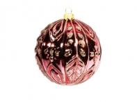 Шар с золотистым лиственным узором ягодный глянцевый (стекло) 10 см