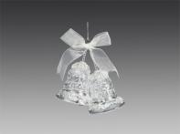 Колокольчики прозрачно-серебряные хрустальные с бантиком, 8 см