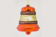 """Новогодняя игрушка """"Объемный колокольчик"""" с рисунком, диаметр 150 мм"""