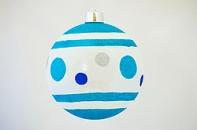 Новогодний шар матовый с рисунком, диаметр 250 мм